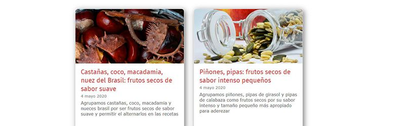 Blog de grupos de ingredientes afines