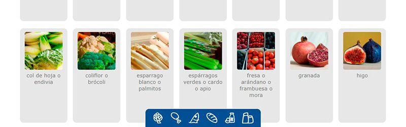 Selección de los ingredientes que tienes.